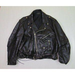 Vintage Men XL Leather Jacket Black Perfecto Punk
